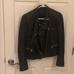 Zara black leather jacket with zippers!